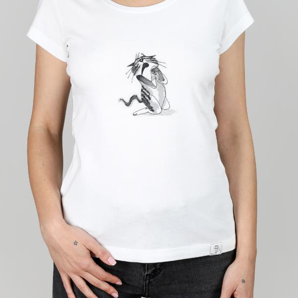 tricou dama personalizat broderie motanul se roaga