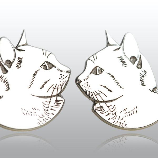 Cercei argint pisica mandra gravata
