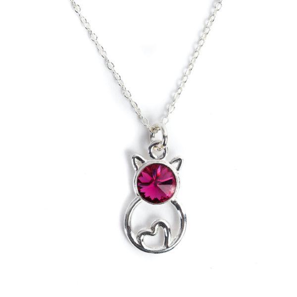 Pisica indragostita - Pandantiv argint, cristal Swarovski
